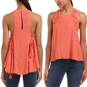 ASTR the Label Coral Alaine Lace Up Detail Tank